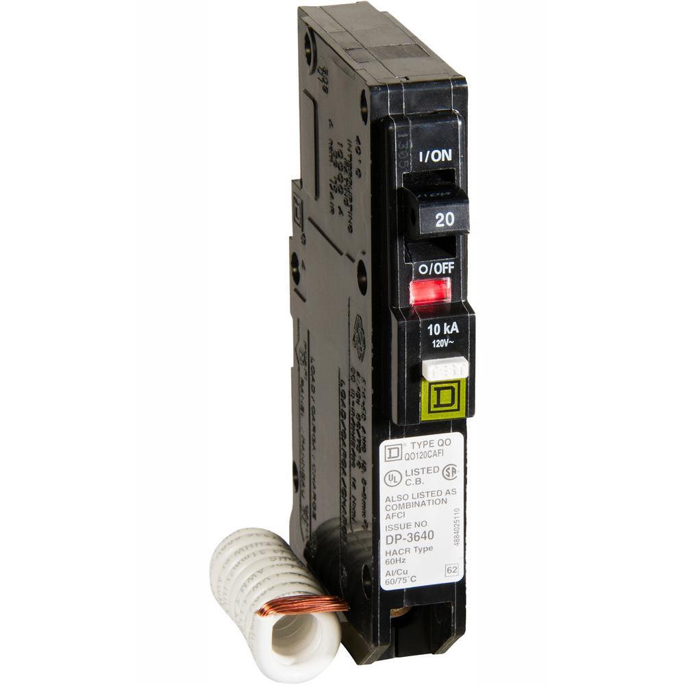 Square D QO120CAFI 20 Amp Single-Pole Combination Arc Fault AFCI Circuit Breaker