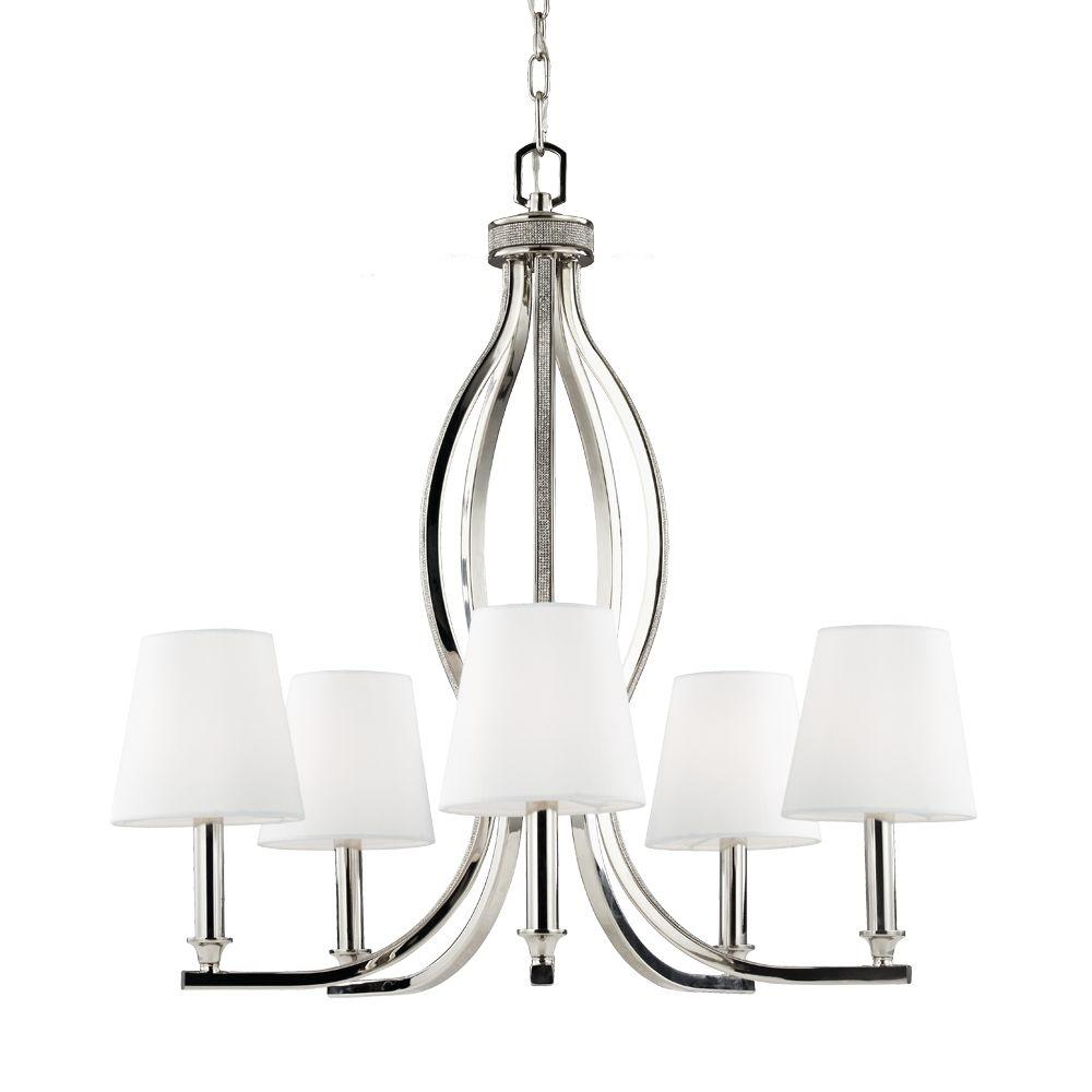 Chandelier shades lighting the home depot pave39 5 light polished nickel single tier chandelier shade arubaitofo Gallery