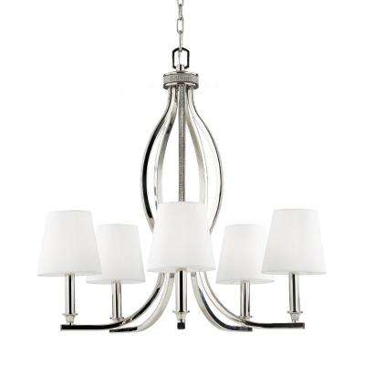 Pave' 5-Light Polished Nickel Single Tier Chandelier Shade