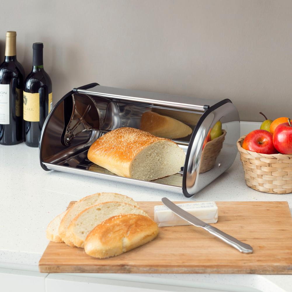 Home Basics 1 Piece Stainless Steel Bread Storage Box In Silver Bb00085 The Home Depot