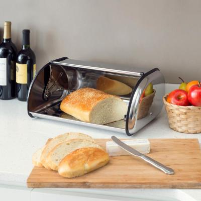 1-Piece Stainless Steel Bread Storage Box in Silver