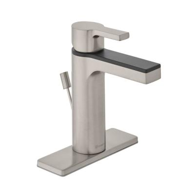 Modern Contemporary Single Hole Single-Handle Low-Arc Bathroom Faucet in Dual Finish Brushed Nickel and Matte Black