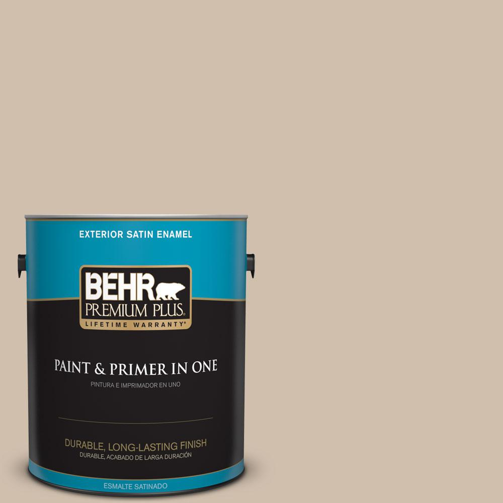 BEHR Premium Plus 1-gal. #700C-3 Pecan Sandie Satin Enamel Exterior Paint