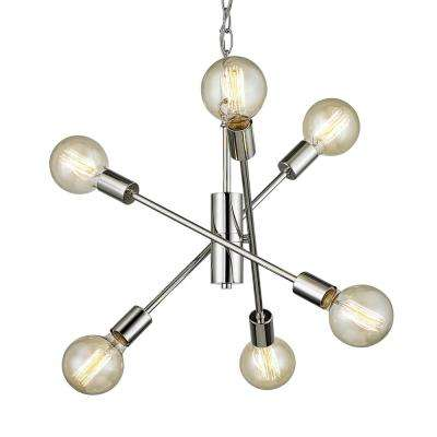 Fife 6-Light Polished Nickel Pendant