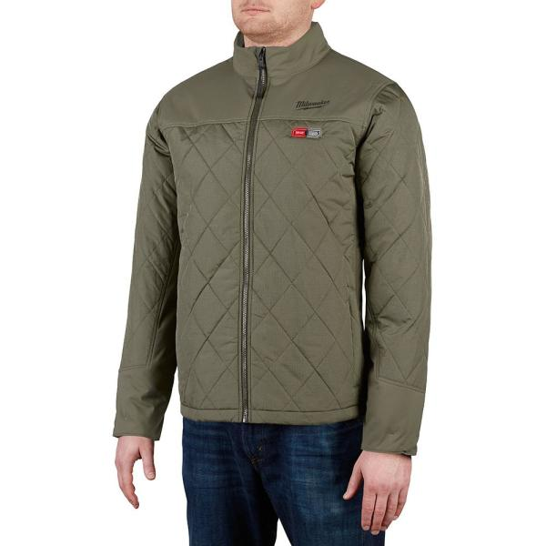Men's X-Large M12 12-Volt Lithium-Ion Cordless Olive Green Heated Quilted Jacket Kit with (1) 2.0Ah Battery and Charger