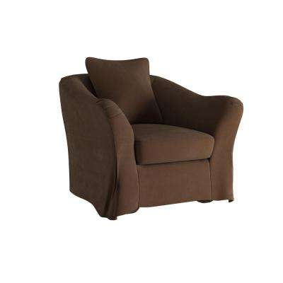 Sydney Brown Down Filled Slipcovered Arm Chair