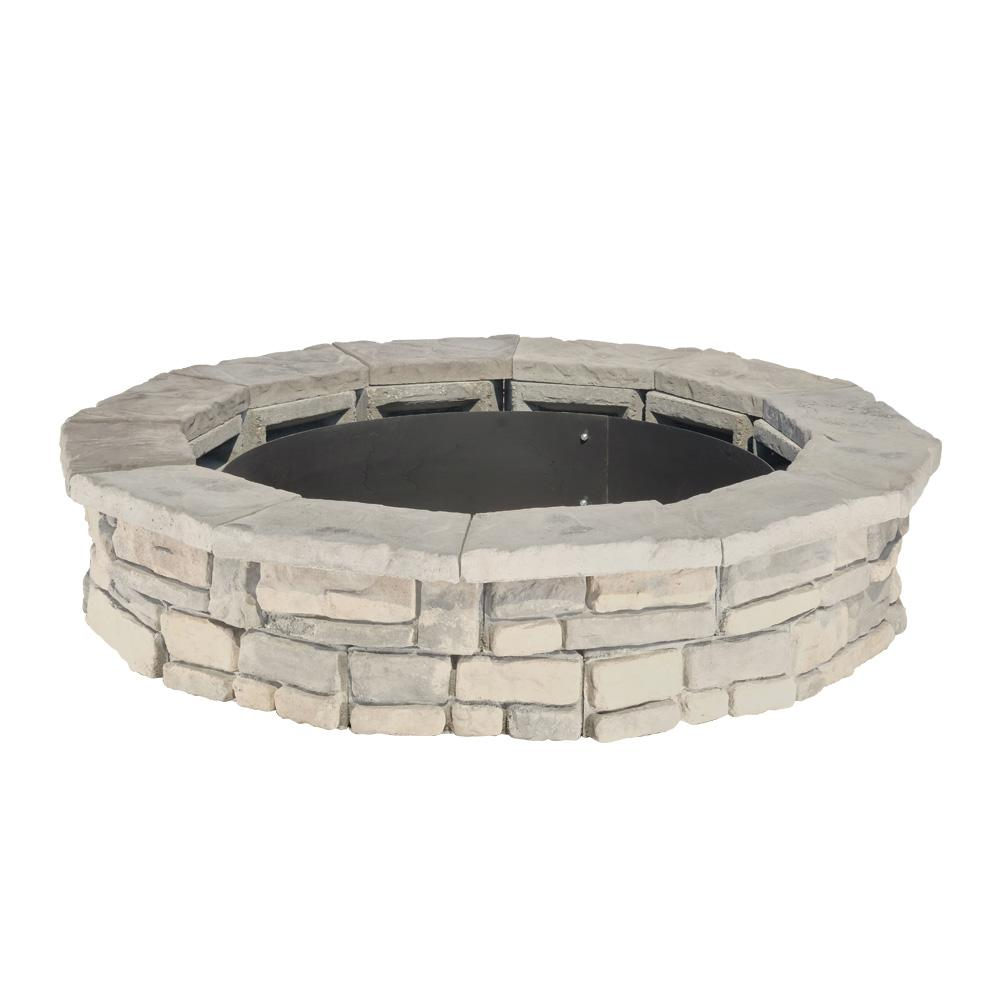 Natural Concrete Products Co 44 in. Random Stone Limestone Fire Pit Kit - Natural Concrete Products Co 44 In. Random Stone Limestone Fire Pit