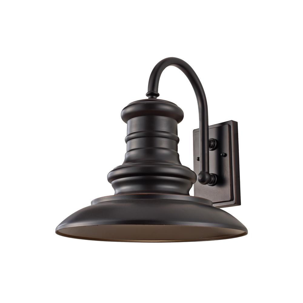 Redding Station Large 1-Light Restoration Bronze Outdoor Wall Lantern Sconce and Turtle Friendly Amber 7W PAR20 LED Bulb