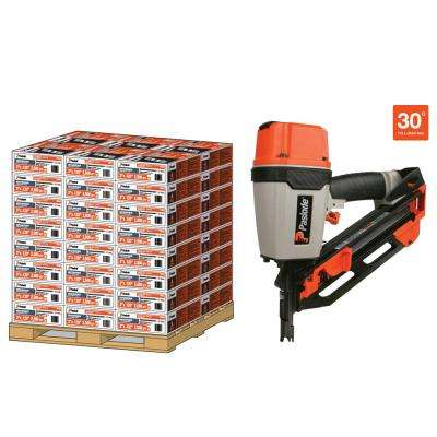 Pallet 30° 3 in. x 120 Heavy Duty Galvanized Ring Shank Paper-Taped Framing Nails with Compact Framing Nailer