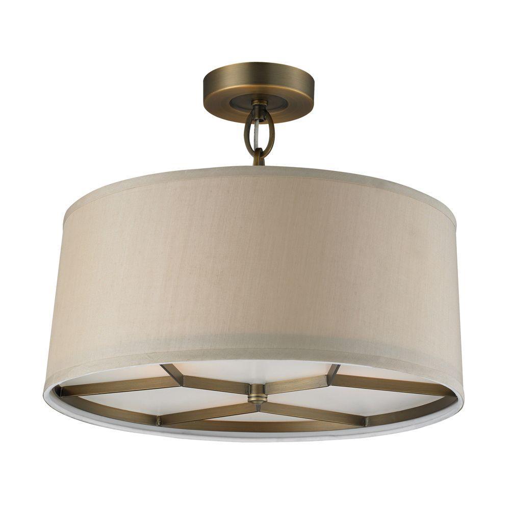 Titan Lighting Baxter 3-Light Brushed Antique Brass Pendant