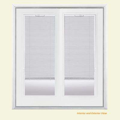 72 in. x 80 in. Primed White Fiberglass Prehung Right-Hand Inswing Mini Blind Patio Door w/ Brickmold, Vinyl Frame
