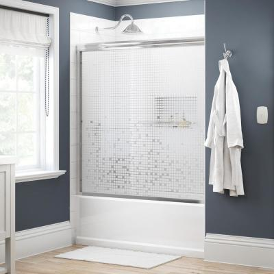 Simplicity 60 in. x 58-1/8 in. Semi-Frameless Traditional Sliding Bathtub Door in Chrome with Mozaic Glass