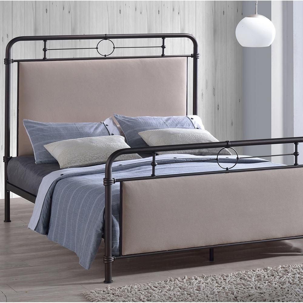 Jina Beige Queen Upholstered Bed
