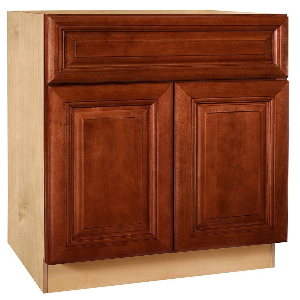 Home Decorators Collection Lyndhurst Assembled 27x34.5x24 in. Double Door Base Kitchen Cabinet, Drawer & Rollout Tray in Cabernet