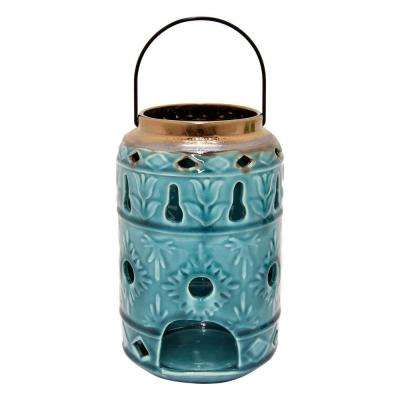 8.5 in. Blue Ceramic Hurricane Candle Holder