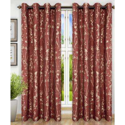 Meadow Polyester Lined Grommet Top Panel in Cardinal - 50 in. W x 63 in. L