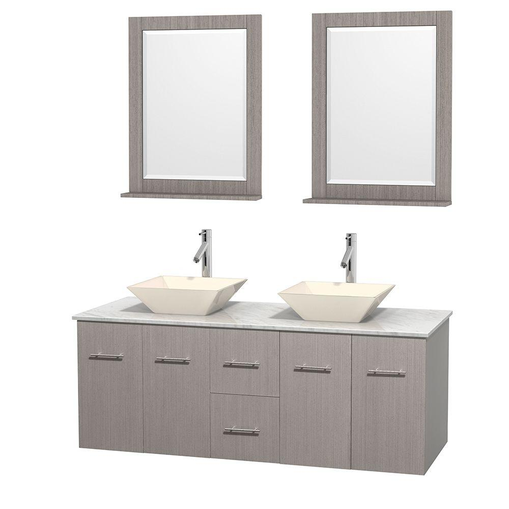 Centra 60 in. Double Vanity in Gray Oak with Marble Vanity