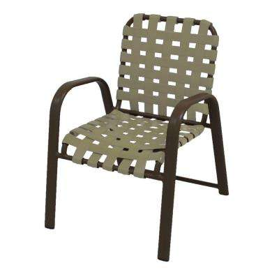 Marco Island Brownstone Commercial Grade Aluminum Patio Dining Chair with Putty Vinyl Cross Straps (2-Pack)