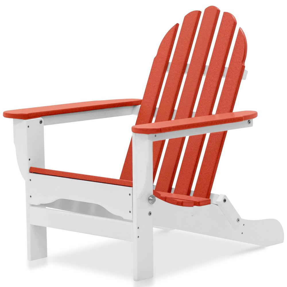 Amazing Durogreen Icon White And Bright Red Plastic Folding Adirondack Chair Squirreltailoven Fun Painted Chair Ideas Images Squirreltailovenorg