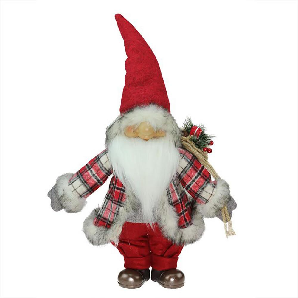 red and gray merry matthew gnome christmas tabletop decoration