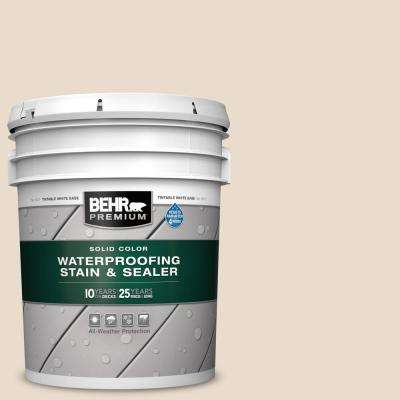 5 gal. #SC-157 Navajo White Solid Color Waterproofing Exterior Wood Stain and Sealer
