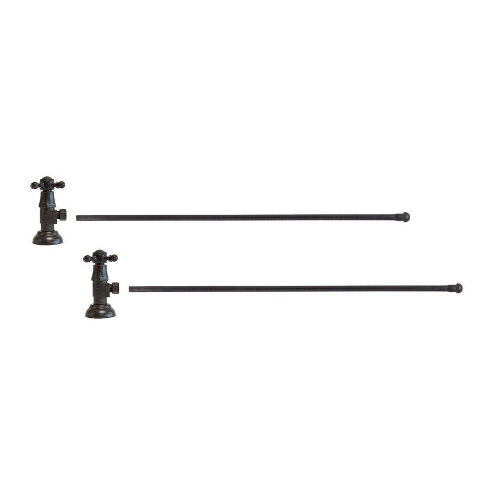 3/8 in. O.D x 20 in. Brass Rigid Lavatory Supply Lines with Cross Handle Shutoff Valves in Venetian Bronze Barclay provides all your essential bathroom needs. Enjoy the convenience of accessible water shut-off with these decorative lavatory supplies. Choose from 5 designer finishes. Color: Venetian Bronze.