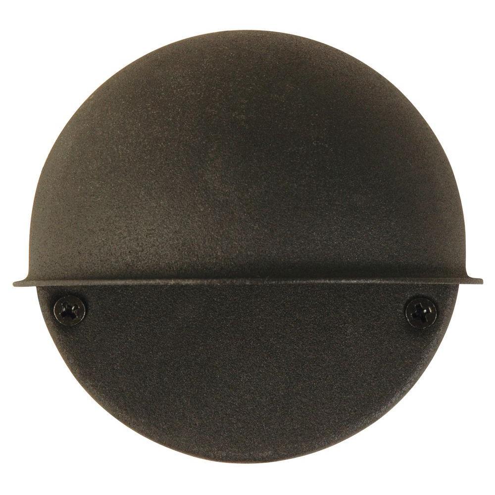Low-Voltage Black 1-Light Circular-Mount Deck Light