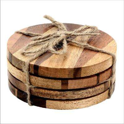 4-Piece Knuckled Wood Coaster set