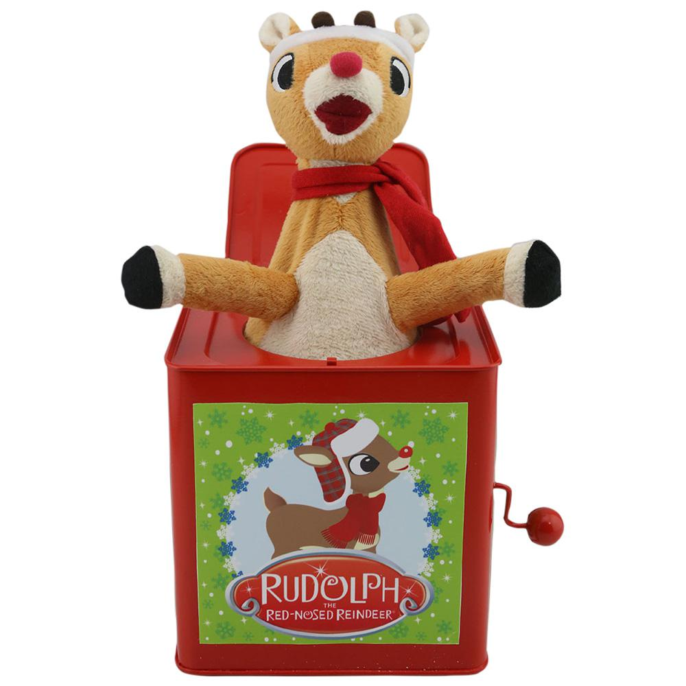 ab5ab660f3165 Rudolph 10.63 in. Jack in The Box with Red Santa Hat and Scarf ...