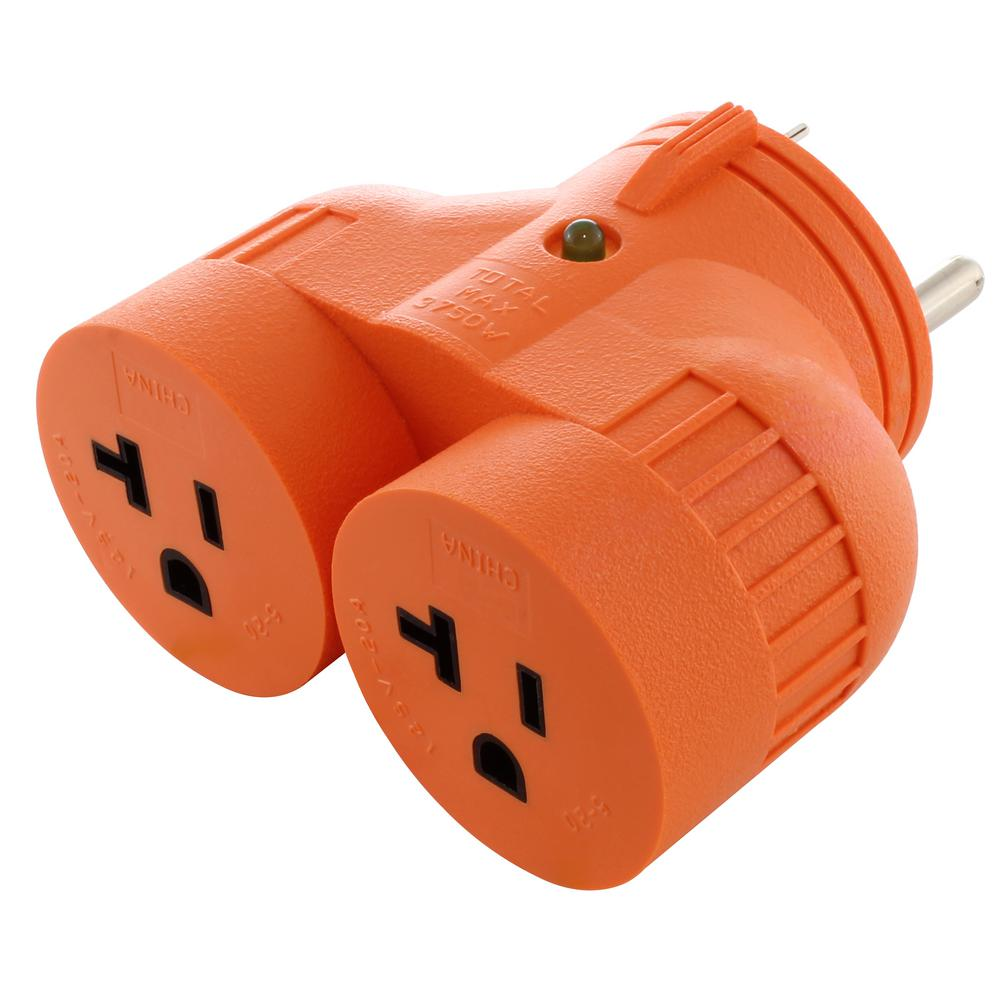 Generator V-Duo Outlet Adapter TT-30P RV 30 Amp Plug to (2)