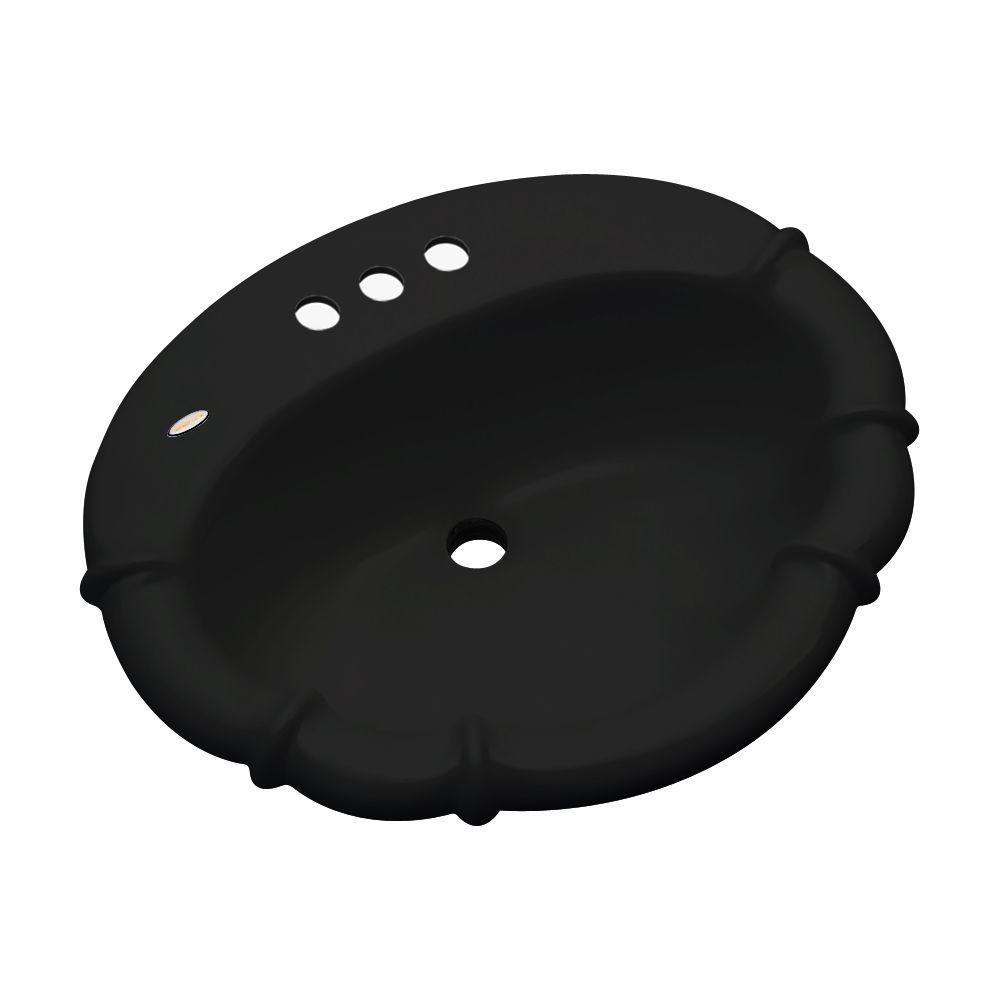 Magnolia Drop-In Bathroom Sink with Faucet Holes in Black