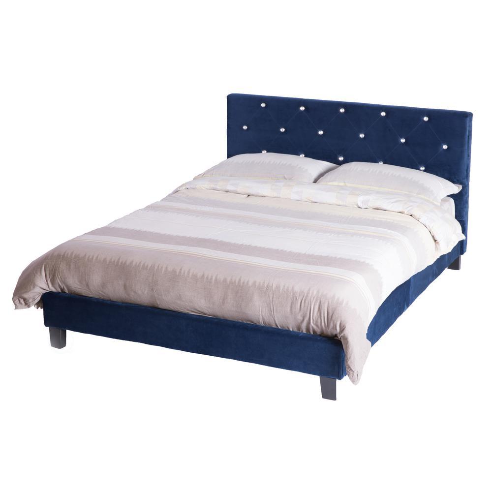 Blue Queen Size Wood Velvet Tufted, Queen Velvet Bed Frame