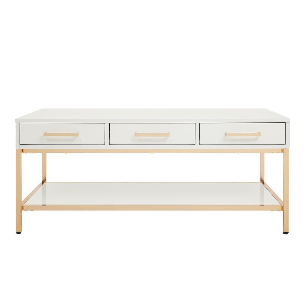 Alios White/Gold Chrome Cocktail Table