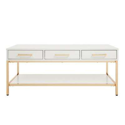 Alios White/Gold Chrome Cocktail Table