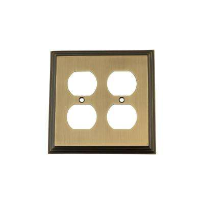 Deco Switch Plate with Double Outlet in Antique Brass