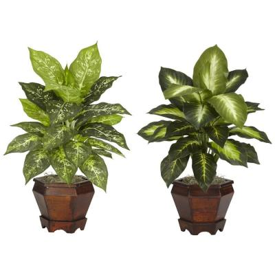 20.5 in. Tabletop H Green Dieffenbachia with Wood Vase Silk Plant (Set of 2)