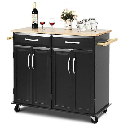 Black Rolling Kitchen Trolley Island Cart Wood Top Storage Cabinet Utility with Drawers