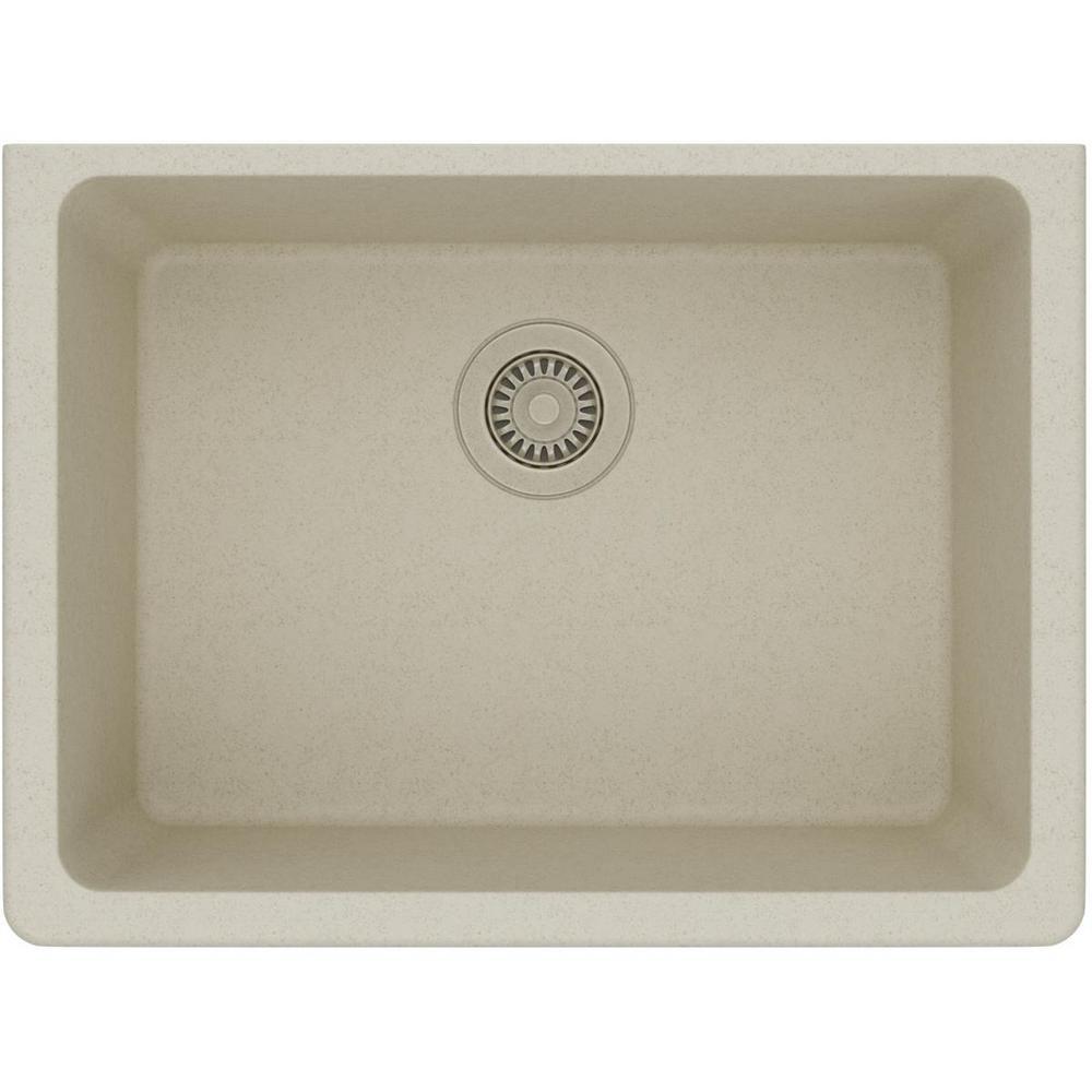 Quartz Classic Undermount Composite 25 in. Single Bowl Kitchen Sink in Bisque