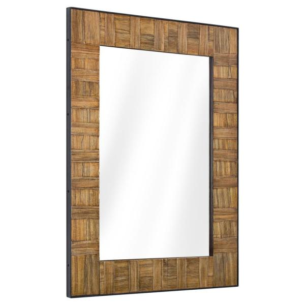 Medium Rectangle Brown Classic Mirror (35.5 in. H x 26.5 in. W)