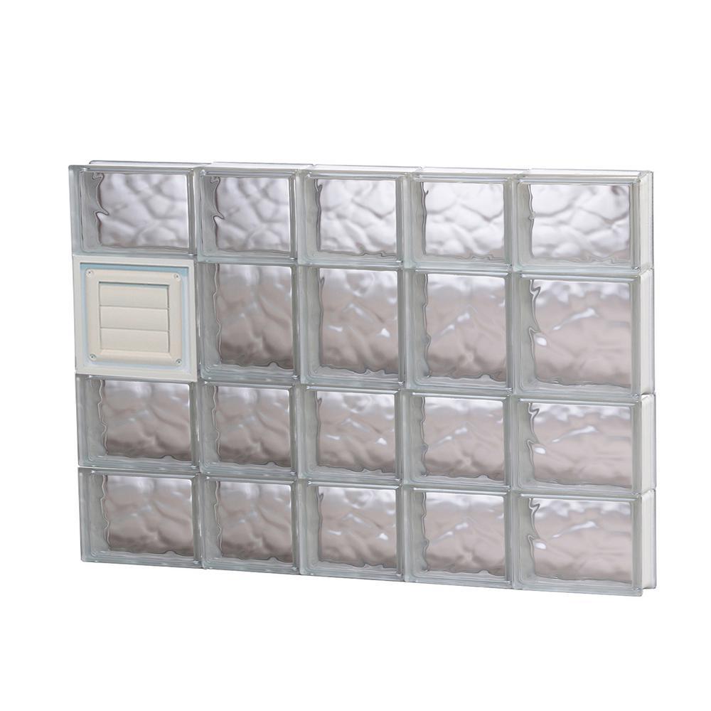 32.75 in. x 25 in. x 3.125 in. Wave Pattern Glass