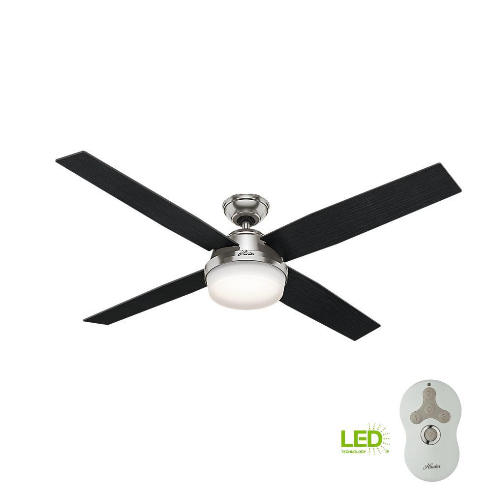 hunter dempsey 60 in led indoor brushed nickel ceiling fan with