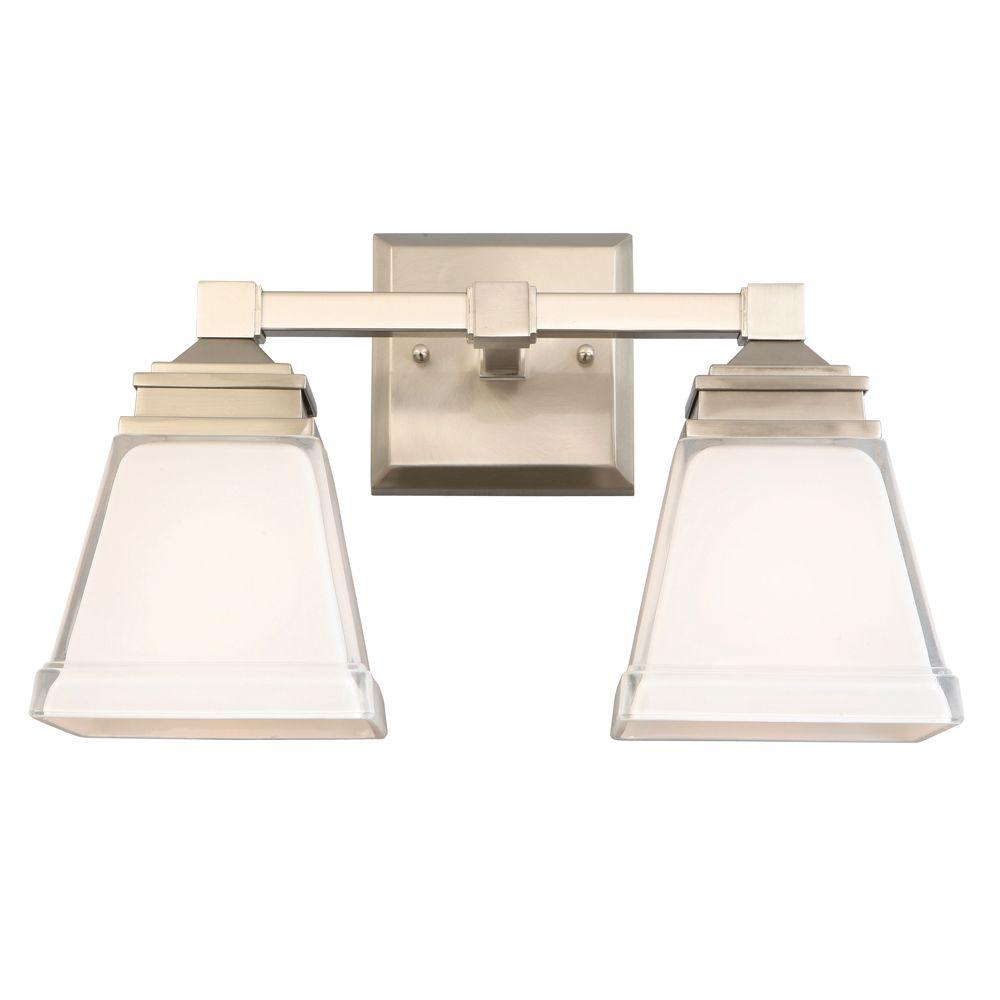 Hampton Bay Landray 2 Light Brushed Nickel Vanity Light With Frosted Glass  Shades