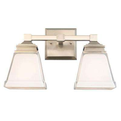 Landray 2-Light Brushed Nickel Vanity Light with Frosted Glass Shades