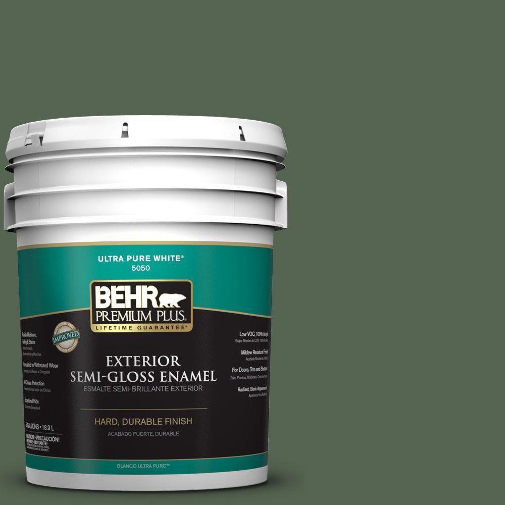 BEHR Premium Plus 5-gal. #S410-7 Equestrian Green Semi-Gloss Enamel Exterior Paint