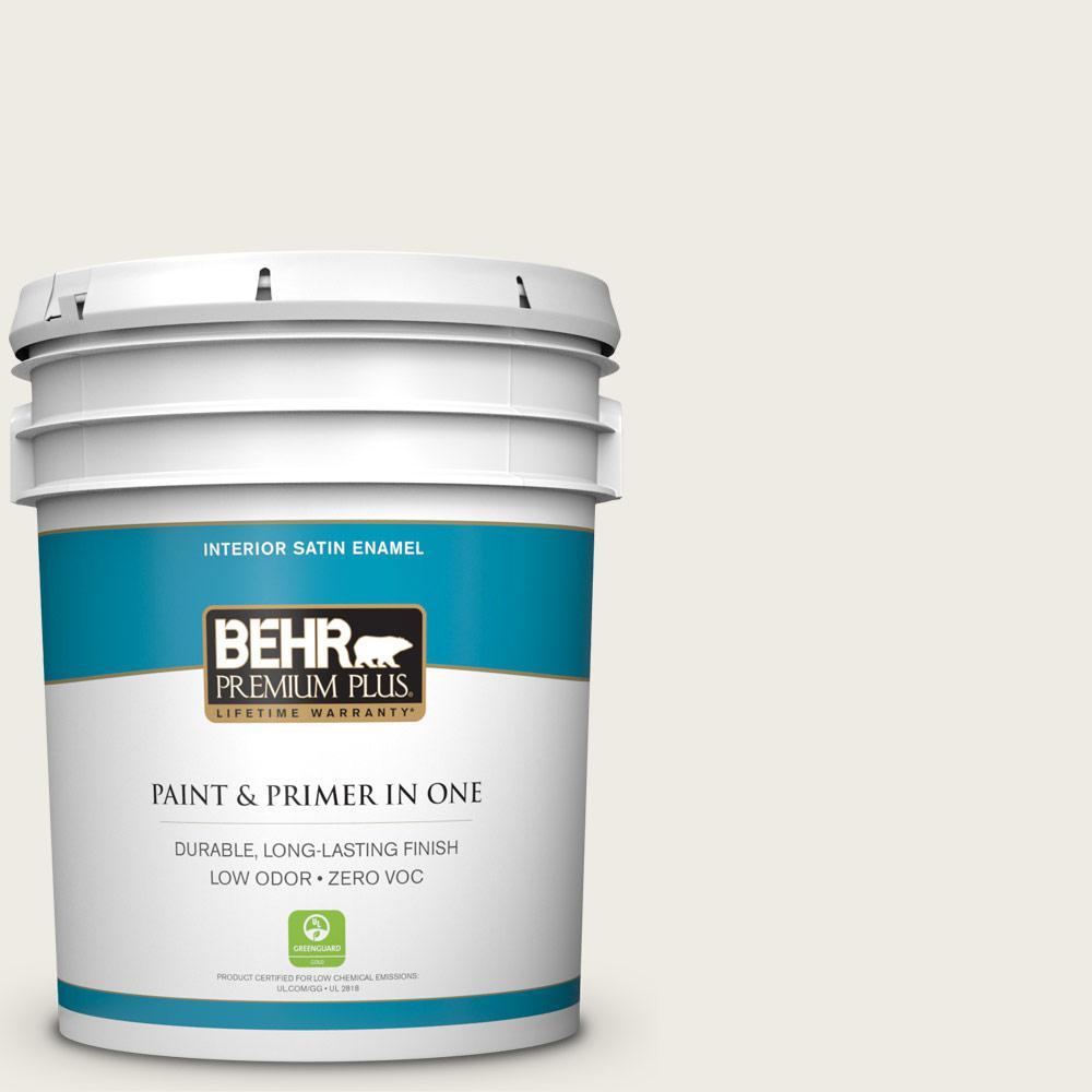 BEHR Premium Plus 5 gal. #PWN-51 Villa White Satin Enamel Zero VOC Interior Paint and Primer in One