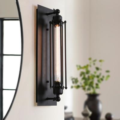 1-Light Farmhouse Vintage Black Wire Cage Wall Sconce