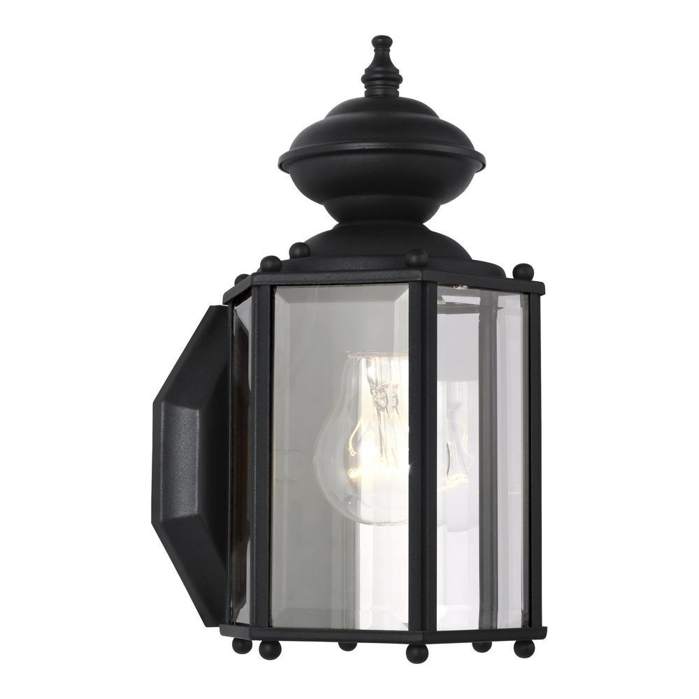 Classico 1-Light Black Outdoor Wall Fixture  sc 1 st  The Home Depot & Sea Gull Lighting Branford 1-Light Obsidian Mist Outdoor Wall ... azcodes.com