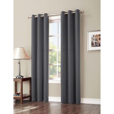 Blackout Gavin 84 in. L Blackout Curtain Panel in Charcoal