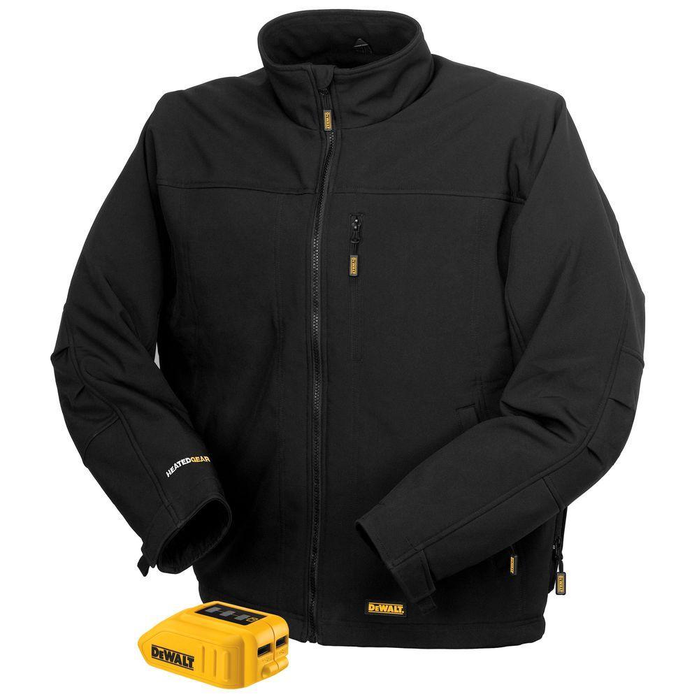 Unisex Large Black 20-Volt MAX Heated Soft Shell Work Jacket