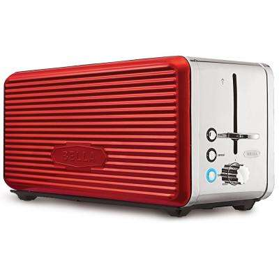 Linea 4-Slice Red and Chrome Toaster